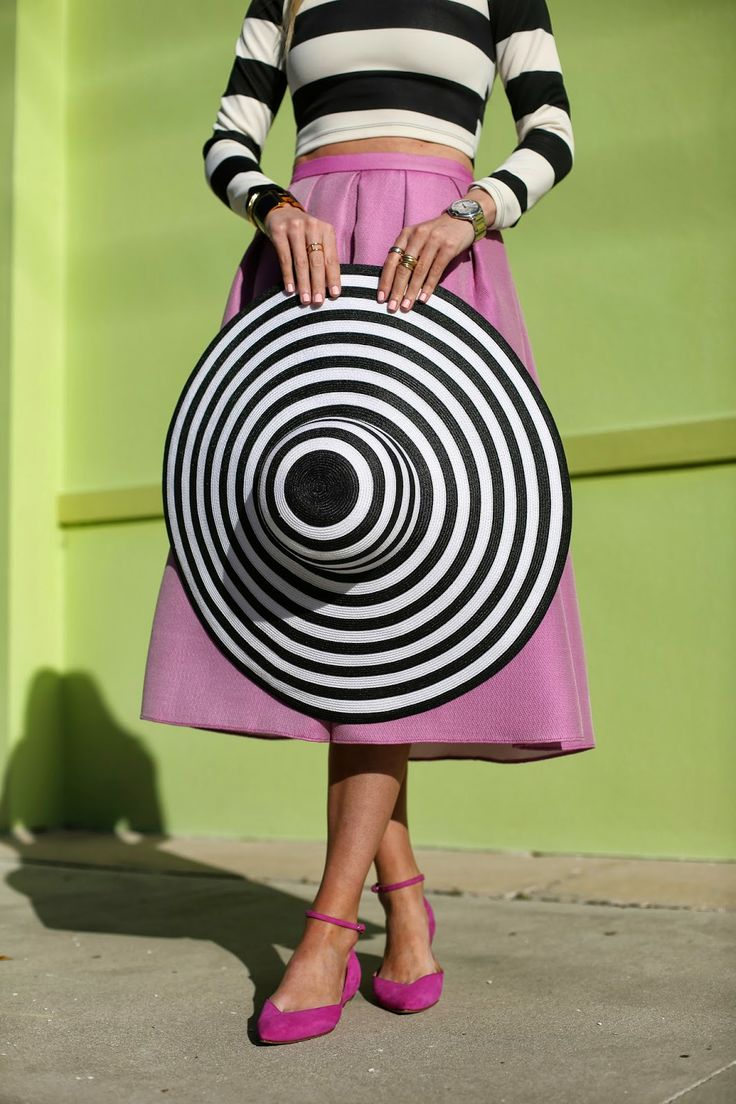 stripes hat crop top midi skirt