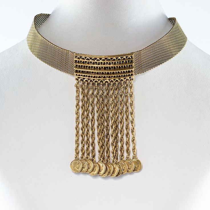Vintage Unsigned Goldette Mesh and Coin Choker Necklace c. 1970s