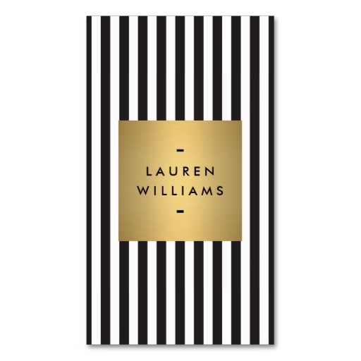 Luxe Bold Black and White Stripes with Gold Box Business Card Template