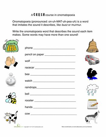Worksheets: Onomatopoeia Words