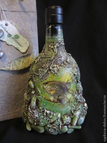 Декор «мужской» подарочной бутылки МК