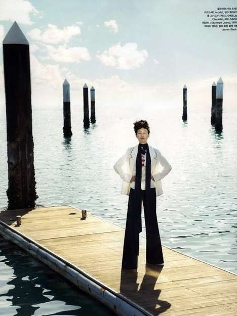 Entitled 'Bon Voyage,' the Lee Hyun Yi Vogue Korea May 2010 editorial is photographed by Bo Lee.