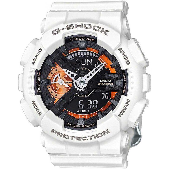 Часы наручные мужские Casio G-SHOCK, цвет: белый, черный, оранжевый. GMA-S110CW-7A2