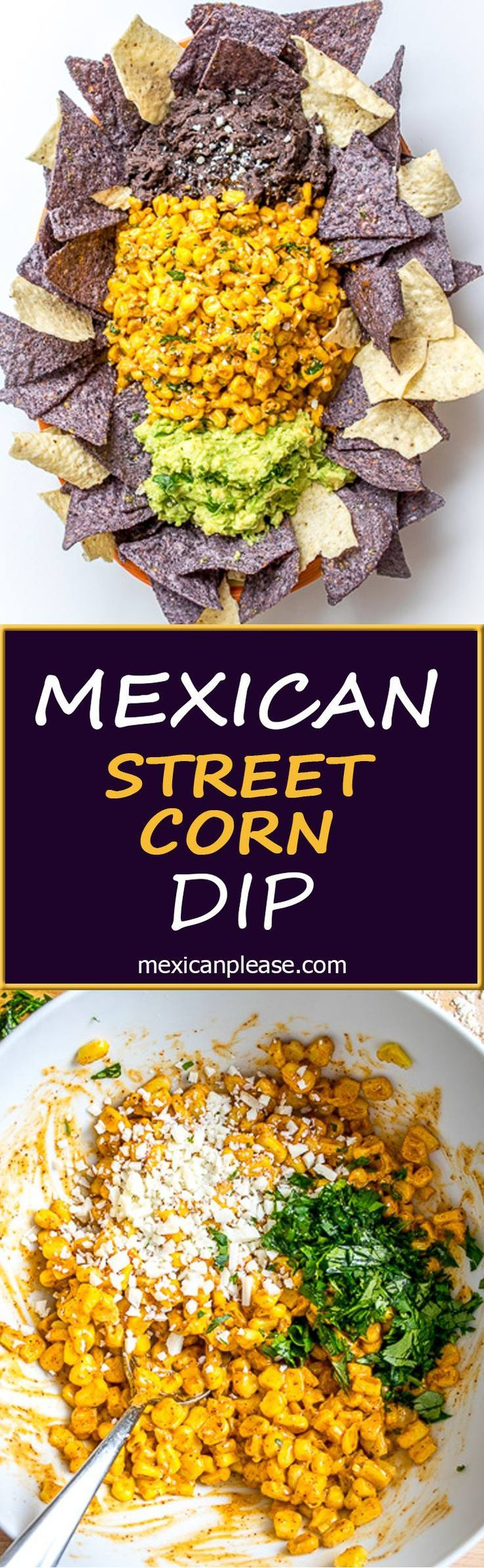 Mexican Street Corn is typically slathered in a creamy Chili-Lime sauce.  This recipe adds beans and guacamole to the mix and the result is a meal worthy dip that is delicious!  http://mexicanplease.com
