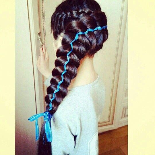 Коса, коса из пяти прядей, коса с лентами, hair