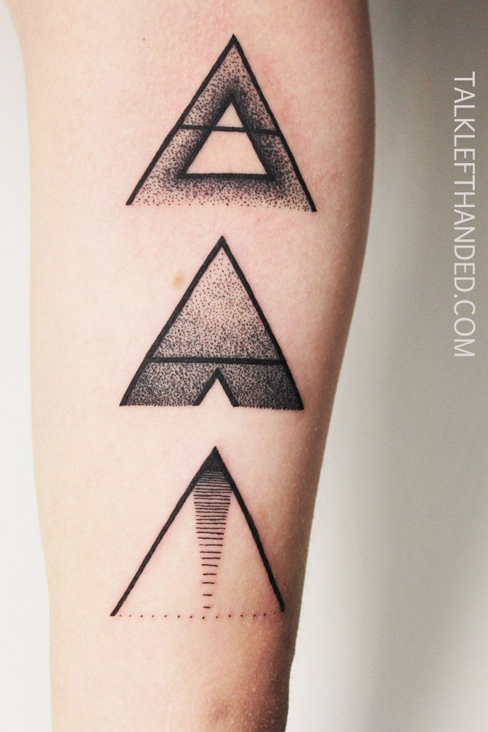 #minimal #tattoo #triangle For the customer it symbolizes the personal growth, like the mountains to climb to, each one getting more complexed and so on. And it all with the minimal look. Inside of the biceps.