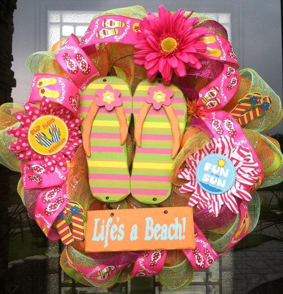 Life's A Beach Flip Flop Wreath