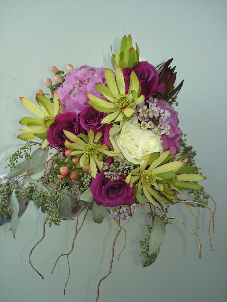 Brides bouquet pink hydrangea, purple roses~ Bouquet by Karyn Schneider, The Petal Patch, Ltd.  McFarland Wi