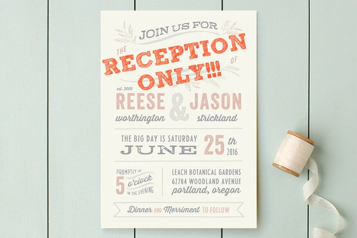 Wedding Invitations For Reception Only: Cute Wording Ideas