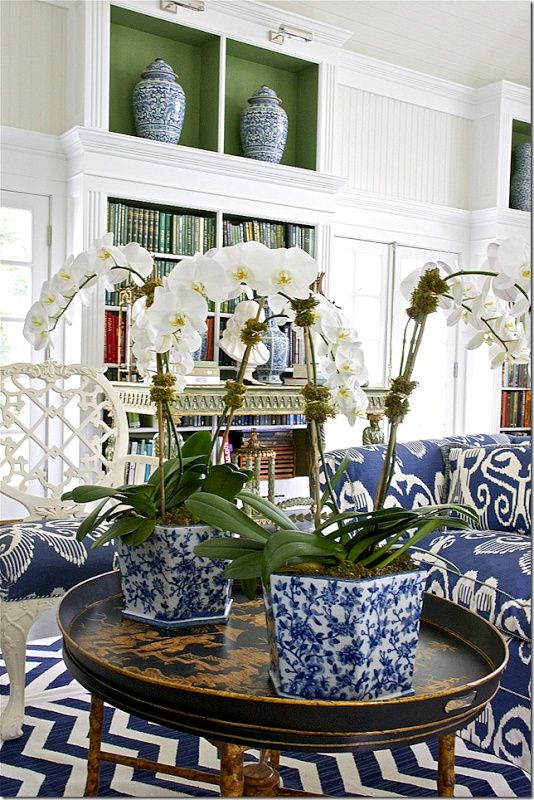 Carolyne Roehm Gorgeous White Clean LR With Orchids In Blue And Pots Ginger Jars On Upper Shelves Matching Sofa