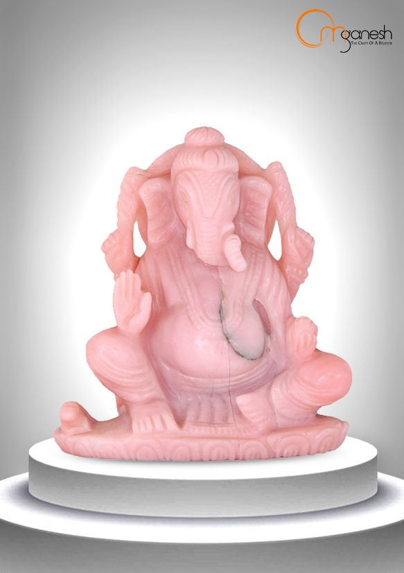 Like the soothing shade of the stone, a Pink Opal idol of Ganesha is a symbol of peace & tranquility for the aura.
