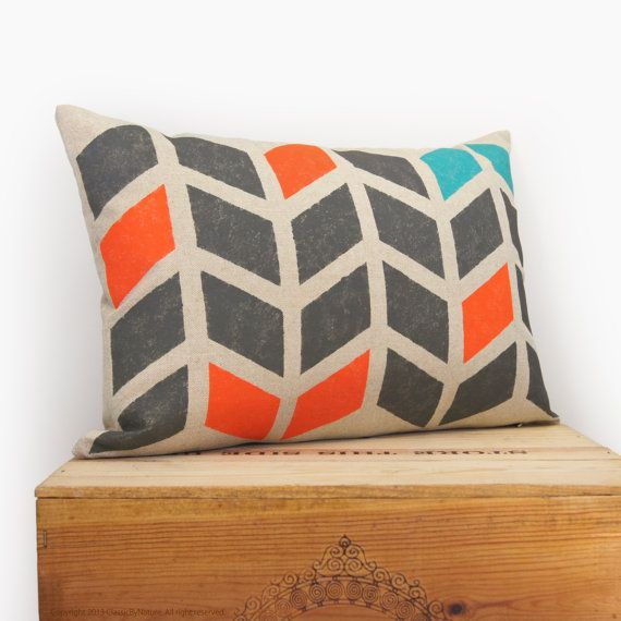 Chevron pillow - Hand printed decorative pillow with graphic arrows pattern in charcoal, orange and teal on beige canvas - 12x18 pillow case