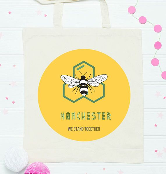 Support Manchester   MEN Arena  Honeybee Print  We Stand Together- 100% goes to charity- hedge & Hog Prints