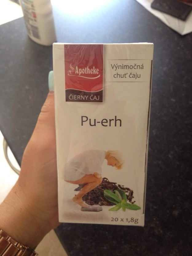 The designer who decided that the woman on this tea box should be squatting. | 21 Designers Who Totally Screwed Up Their One Job