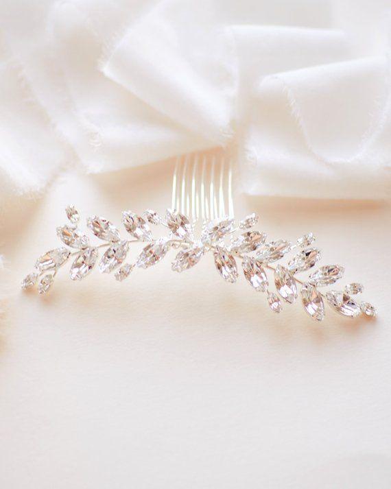 Rhinestone Bridal Hair Comb, Floral Wedding Hair Comb, Bridal Back Comb, Wedding Hair Accessory, Rhi