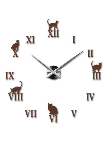Zvětšit Moderní nástěnné nalepovací hodiny. 3D zrcadlové hodiny jako obraz Design nalepovací nástěnné hodiny do každého pokoje, hodiny na stěnu z plastu 3D nástěnné hodiny - černá kočka Kód:  12S020-RAL8011-S-COLOR** Vyber si barvu podle sebe! Přišel čas zútulnit si své bydlení novými hodinami. Velké nástěnné 3D hodiny jsou krásnou dekorací Vašeho interiéru. Už nikdy nebudete opozdí.
