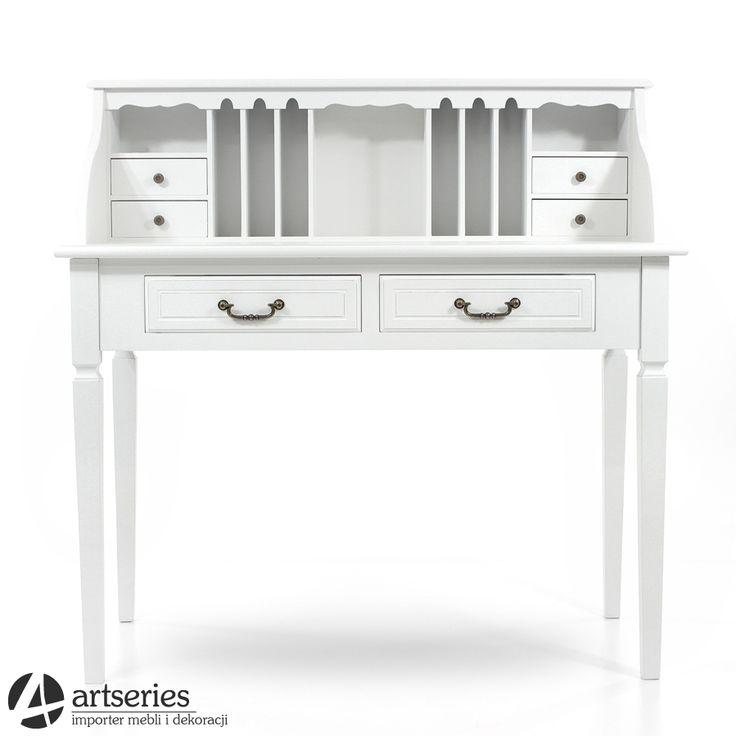 Stylowy sekretarzyk biały 60727 biurko drewniane z przegródkami - Artseries