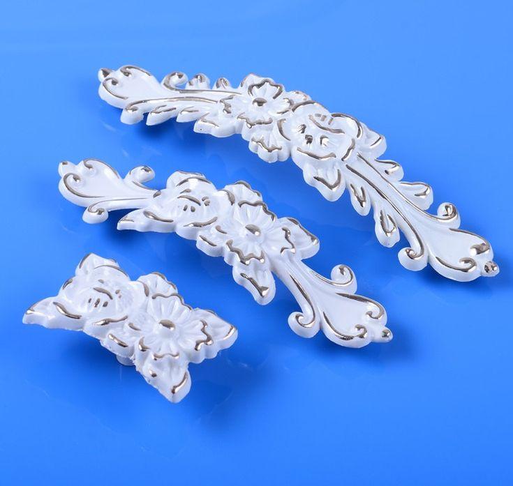 White Dresser Pulls Handles Drawer Pulls Handles Knobs Gold Edge Cabinet  Handle Shabby Chic Rose Flower