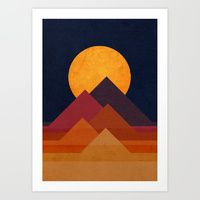Art Prints featuring Full moon and pyramid by Budi Kwan