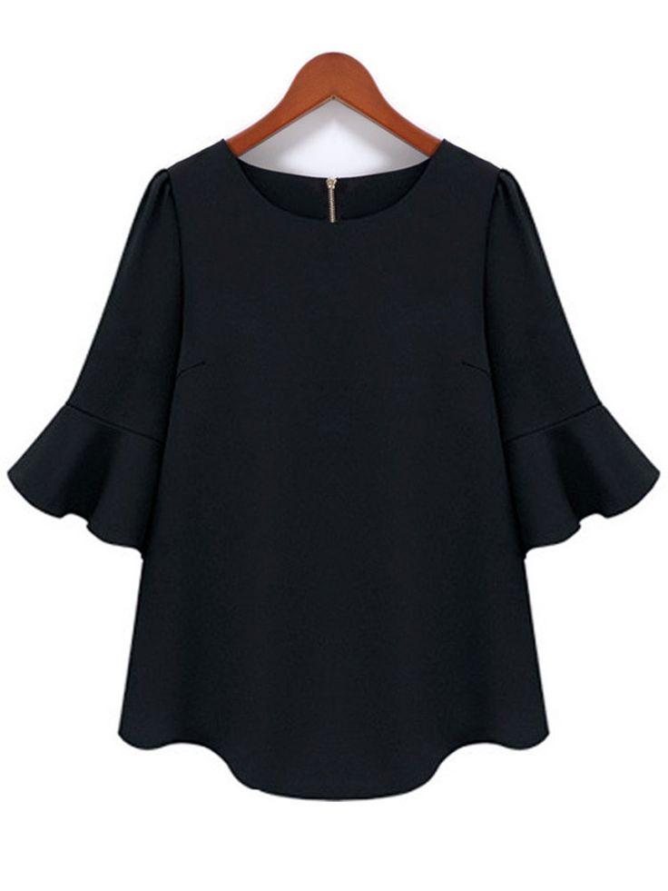 Plus Size Women Ruffles Sleeve O Neck Black Chiffon Blouse - Banggood Mobile