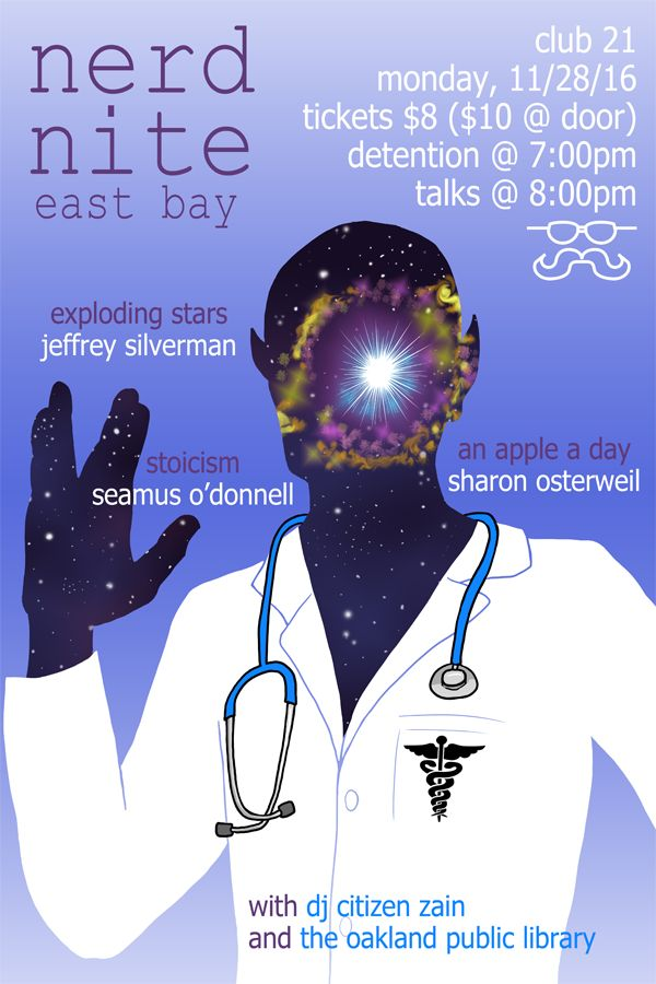 Another Nerd Nite East Bay poster. Drawing a supernova was cool. Come see the show if you're in the Oakland area.