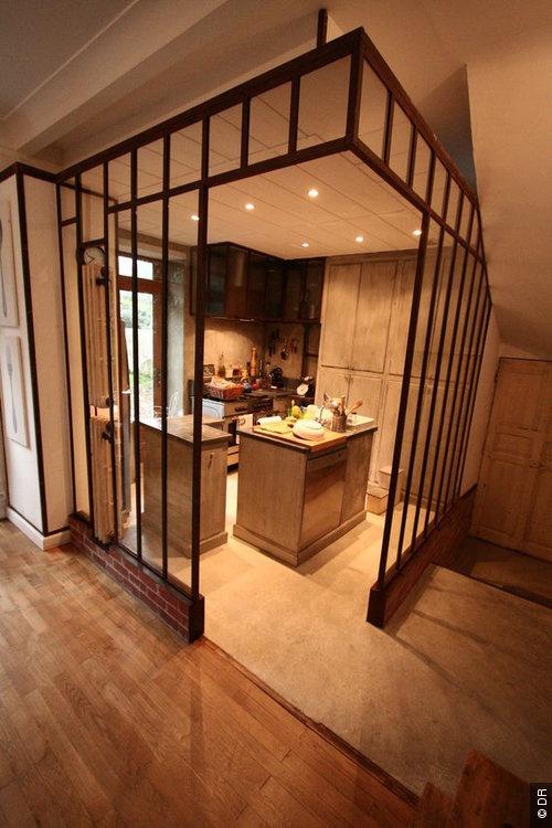 Cuisine, cloison transparente atelier loft