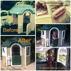 My Little Tikes Playhouse makeover. I loved the Victorian house we had for the size - and the fact that it opens up making for room for play, but not the fading. I used Krylon Fusion spray paint, Rust-oleum ultra cover semi-gloss paint & chalkboard paint. I tried Rust-oleum ultra cover 2x first for siding and sink/window boxes/table , but it peeled (the pink and ivory colors) so I switched and used the Fusion instead. I also used silver on the sink and and faucet.