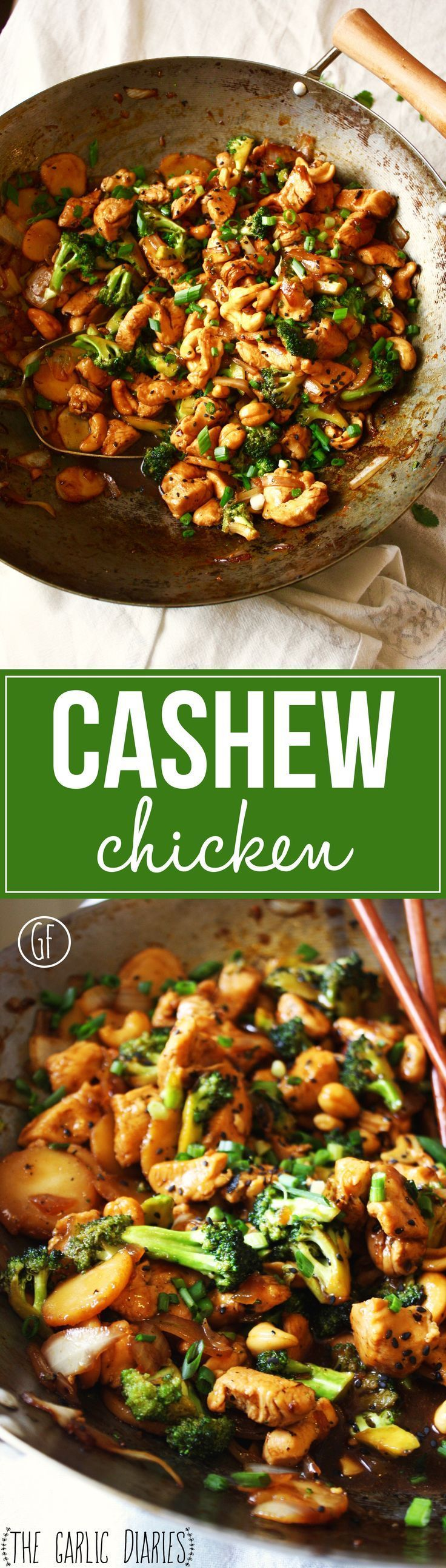 Cashew Chicken - This popular take-out dish is recreated at home using with easy and delicious recipe! Gluten free. http://TheGarlicDiaries.com