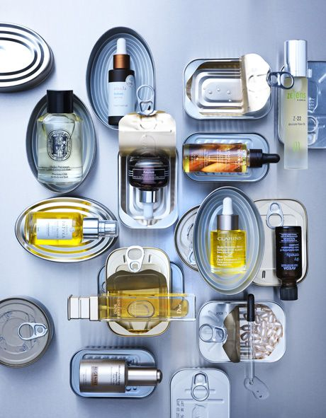 Beauty in Marie Claire Magazine NL 2015 Photography by Frank Brandwijk | 'Beauty Products in Fish Tins'