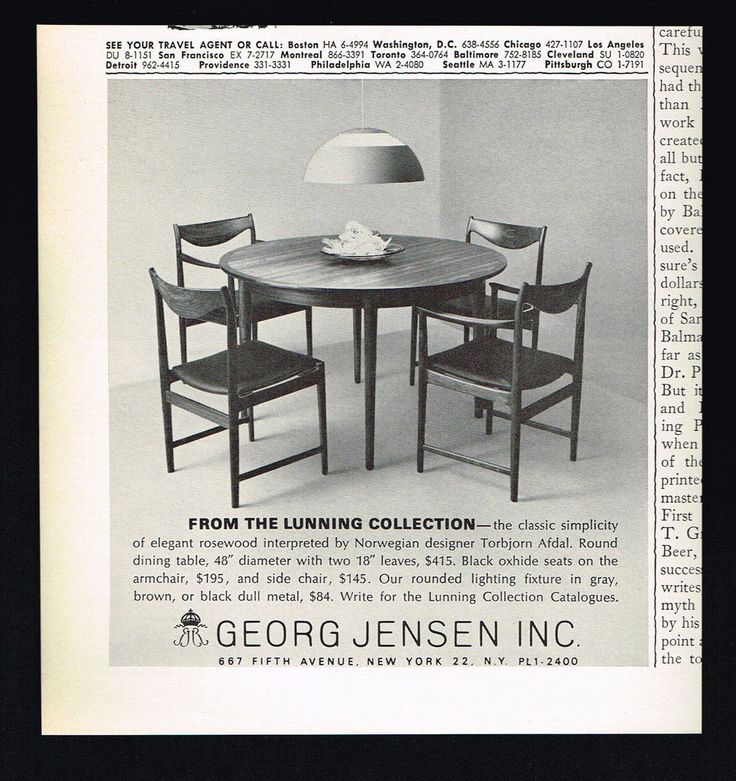 1965 Georg Jensen Lunning Collection Rosewood Table Chairs Afdal Photo  Print Ad   Mid Century Furniture, Danish Modern And Mid Century