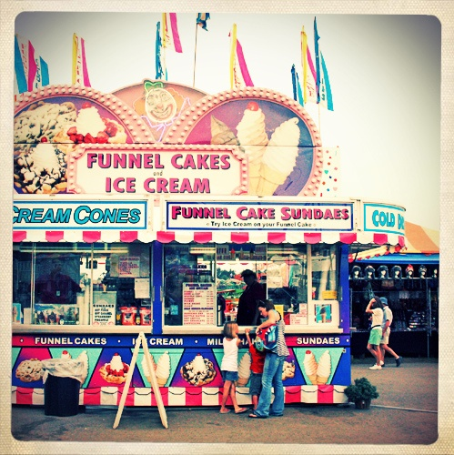 make signs that say funnel cake, ice cream, corn dogs, etc...