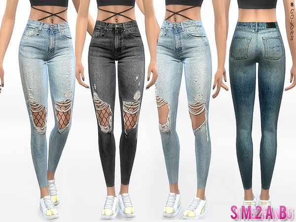 332 Ripped Skinny Jeans With Tights by sims2fanbg at TSR • Sims 4 Updates