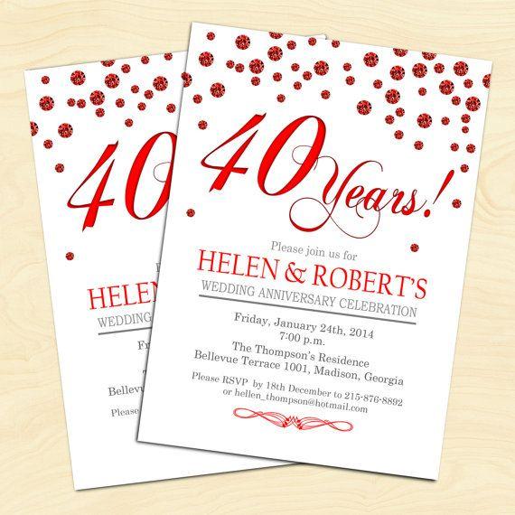 Ruby Red 40th Wedding Anniversary / 45 / White Red / Confetti / Digital Printable Invitation / Customized