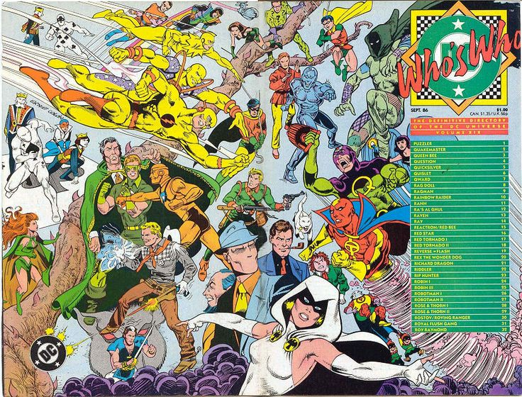 let me name as many characters as possible 'fore I run outta room: Royal Flush Gang! Roy Raymond, TV Detective! Raven! The Question! Quakemaster! The Red Tornado! The Golden Age Red Tornado! Reactron! Reverse-Flash! Rose and the Thorn! Queen Bee! Rex the Wonder Dog! Rag Doll! Rip Hunter! The Puzzler! The Golden Age Robotman! The Silver Age Robotman! Ra's Al Ghul! The Riddler! The Rainbow Raider! The Red Bee! Quislet! The Golden Age Robin! Jason Todd Robin (THAT PUNK)!! The Ray! HOW'D I DO?!