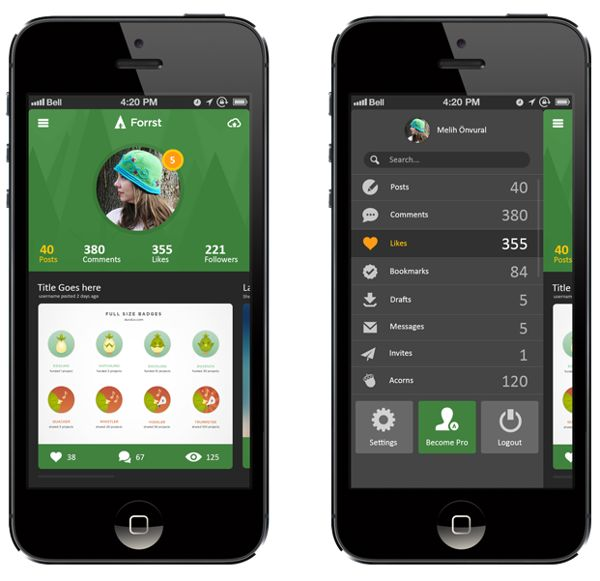 Forrst Mobile App UI design..! by Kenil Bhavsar, via Behance
