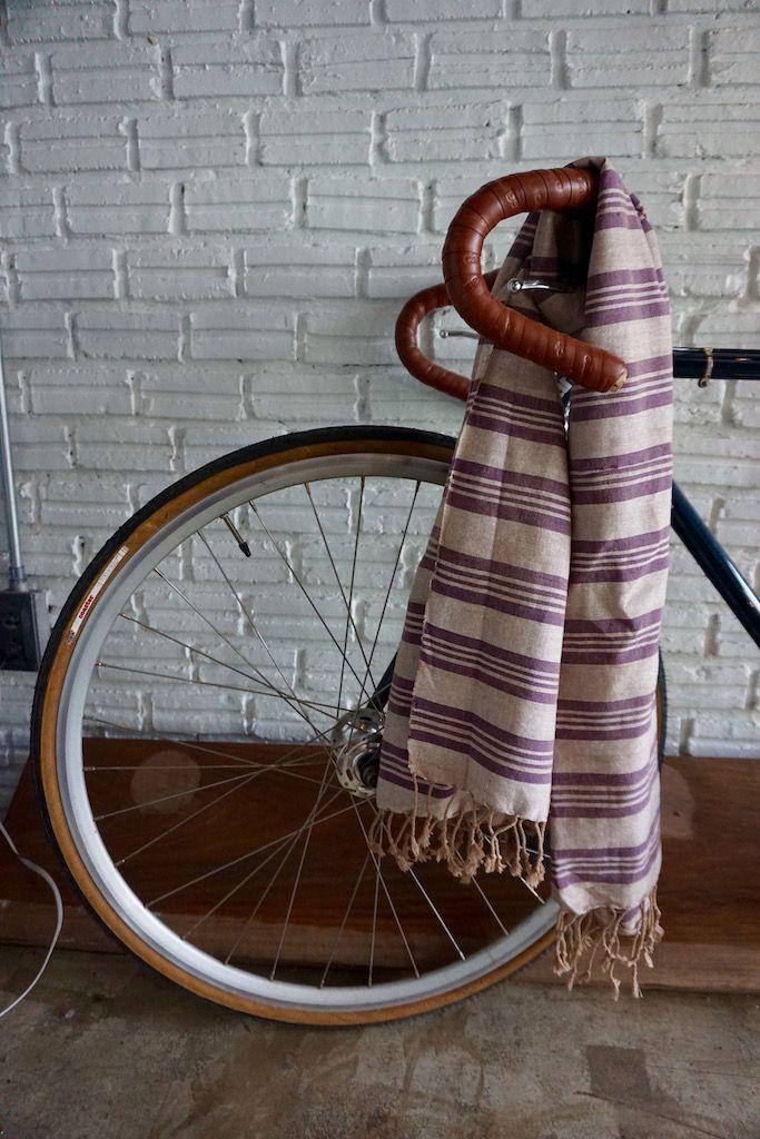 Handmade striped scarf - Purple