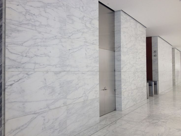 Caldia marble wall panels in a recently remodeled lobby in