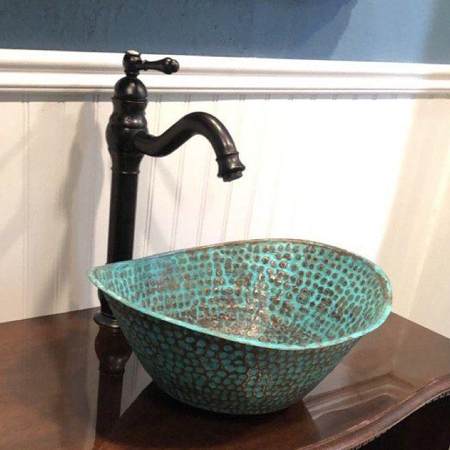 Copper Bathtub Bathroom Vessel Sink Green Patina Aged Etsy Copper Bathtubs Copper Vessel Sinks Bathroom Sink Bowls
