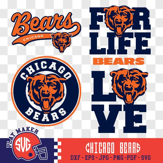 Chicago Bears SVG, Chicago Football Clipart, Chicago Bears Monogram, Chicago Silhouette, Screen Printing, Play_019