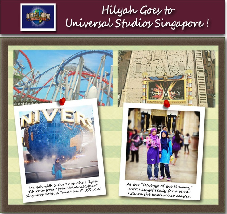 Hilyah goes to Universal Studios, Singapore with Haziqah and friends, who went on a back-packing holiday to Singapore during the Merdeka holidays 2012. Clad in Hilyah Muslimah Tshirts, they spent almost an entire day at the USS, enjoying the sights and rides.     View other hilyah Goes Places photos & stories, visit http://www.hilyah.com/index.php?option=com_content=article=14=19 .