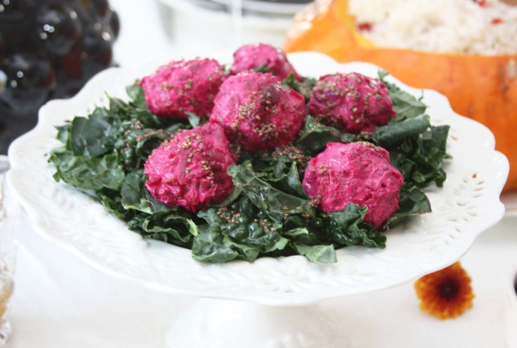 Kale Salad with Beet Goat Cheese Bites & Chia Balsamic dressing. Recipe: http://www.gourmeteasybyoksana.com/easyrecipes/#/kalegoatcheese/   #beet #cheese #kale #salad #recipe #foodblog #healthyfood
