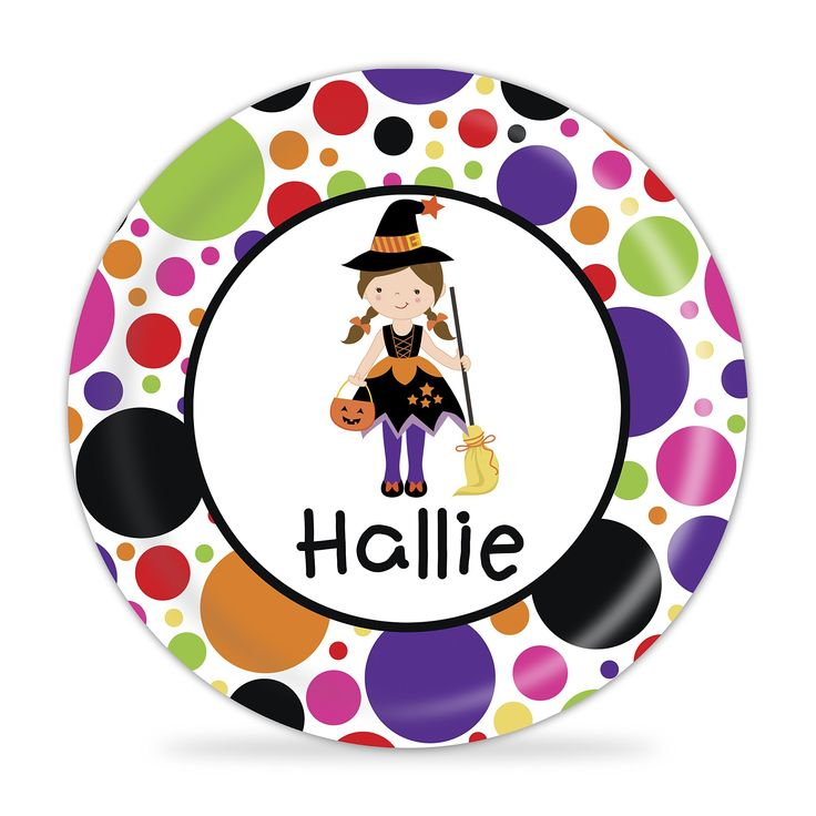 Halloween Plate - Girl Witch Costume, Happy Halloween. 1 Personalized Melamine Plate - makes a Great Kids Gift ~ I Design and Customize, You Give the Perfect Gift! ~ These Personalized Plates are a perfect way to spice up every meal time! Your little one will always enjoy seeing their name on their plate. Watch your Child light up, when they see their plate coming! This will become the new go-to for meal time! This is perfect for all ages and makes a great present for any child. This…