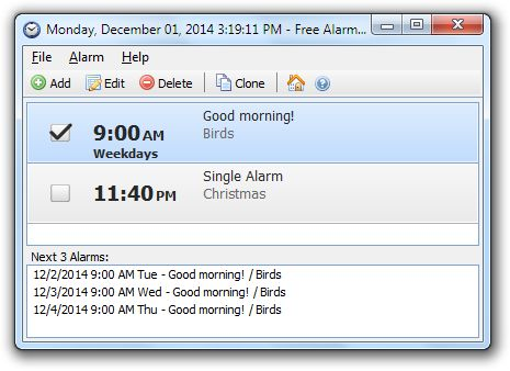Free Alarm Clock Software. set daily/weekly reminders that pop up over everything else, turn up the volume, make you pay attention to the reminder