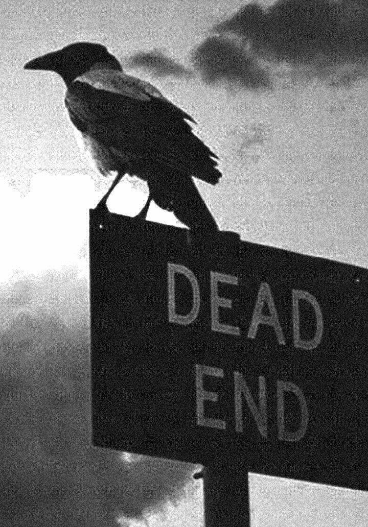 """El cartel indicá el """"Final de los muertos"""". La calle es como nuestra vida: empieza y termina."""