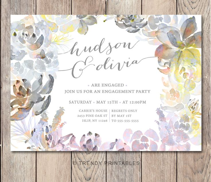 Engagement Party Invitation, Printable Engagement Party Invitation, Floral Engagement Invitations,  Vintage Engagement Party Invitations by TrendyPrintables on Etsy https://www.etsy.com/listing/267506822/engagement-party-invitation-printable