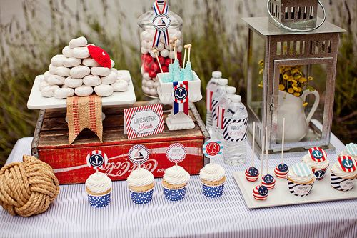 "Nautical ""Ahoy, It's a Boy"" #babyshower - adorable theme and party decor!: Shower Ideas, Boys Birthday Parties, Nautical Baby Showers, Nautical Theme, It A Boys, Baby Shower Parties, Boys Baby Shower, Desserts Tables, Baby Shower"