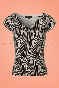 60s Maroon Top in Cream and Black