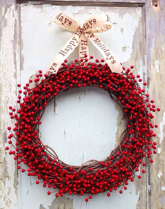 Red Berry Wreath Christmas Rustic Country by WreathUnique on Etsy, $59.00