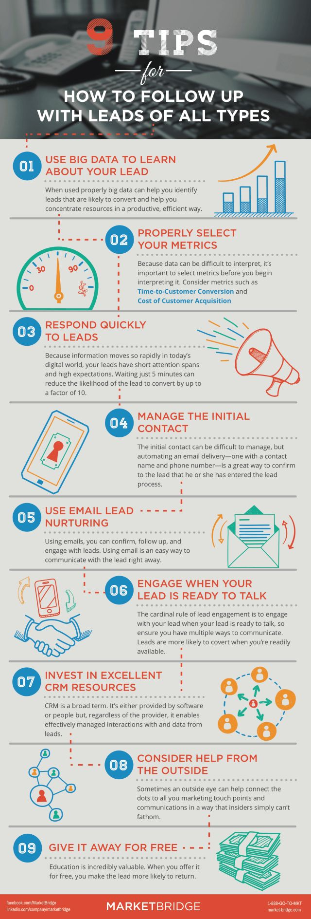 How often do you follow up sales leads? Here are 9 tips to be followed for lead nurturing. #Infographic