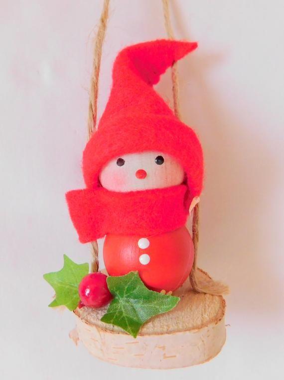 Finland Christmas Decorations.Handmade Finland Christmas Elf Decoration Tonttu Sitting
